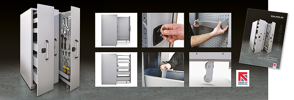 Maximum flexibility, minimal footprint with Dura's NEW Vertical Tool Storage Cabinets
