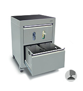 600mm wastebin cabinet with towel & glove dispenser (with 2 bins)