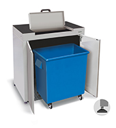 900mm wide waste cabinet with access flap and mobile bin