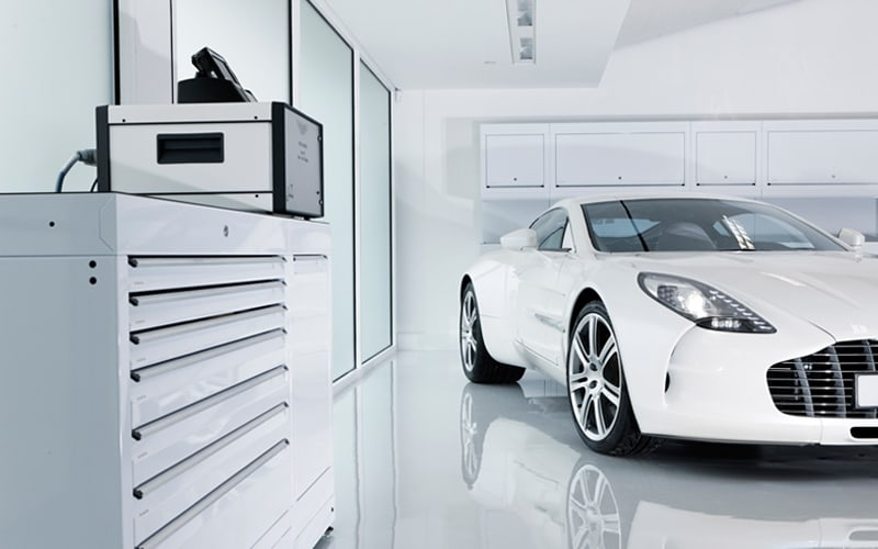 aston martin workshops bespoke workshop cabinets from dura ltd. Black Bedroom Furniture Sets. Home Design Ideas