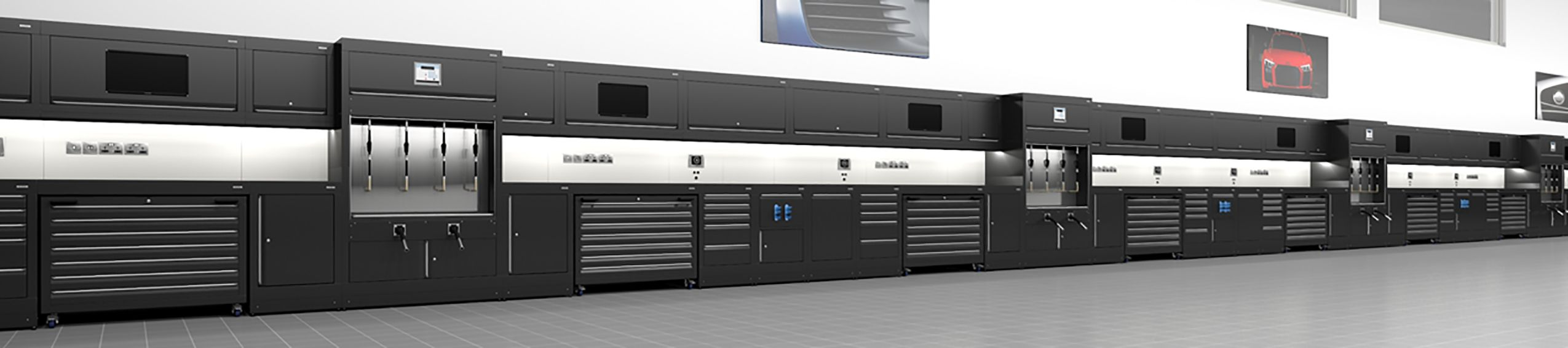 3D render of black cabinets by Dura Ltd