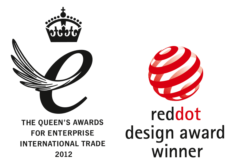 Queen's Award and Red Dot Award logo