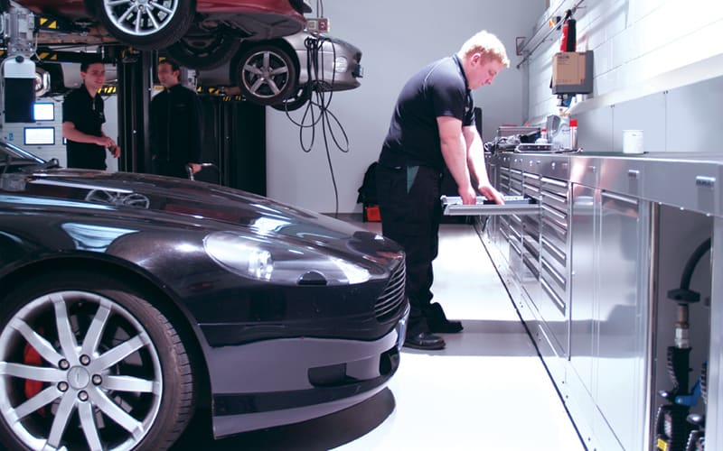 JCT 600 Leeds Aston Martin Workshop Cabinets by Dura Ltd