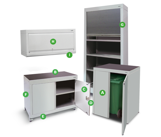 Workshop Cupboards & Shelving Units from Dura Ltd with annotations