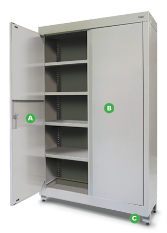 Heavy-duty Shelving Cabinets by Dura Ltd with annotations