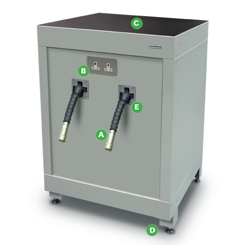 Low Level Air Electrical Reel Management Cabinets by Dura Ltd with annotations