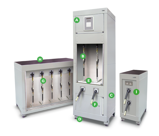 Workshop Fluid, Air & Electric Delivery Cabinets from Dura Lt with annotations