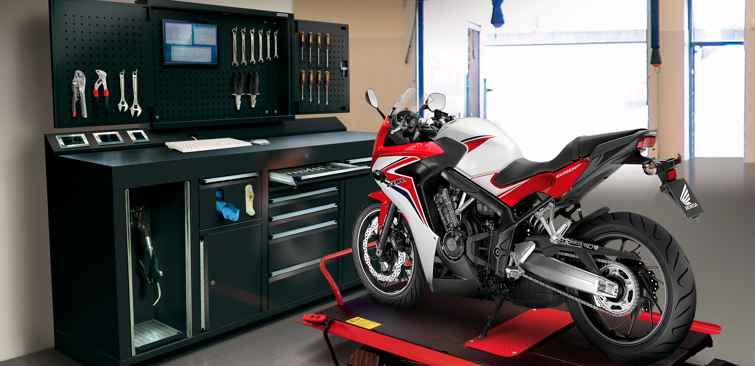Dura ServicePod in State of the Art Motorcycle Workshop