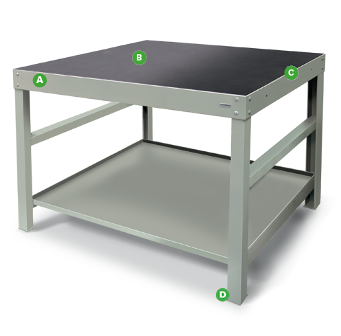 Heavy-duty Workbenches by Dura Ltd with annotations